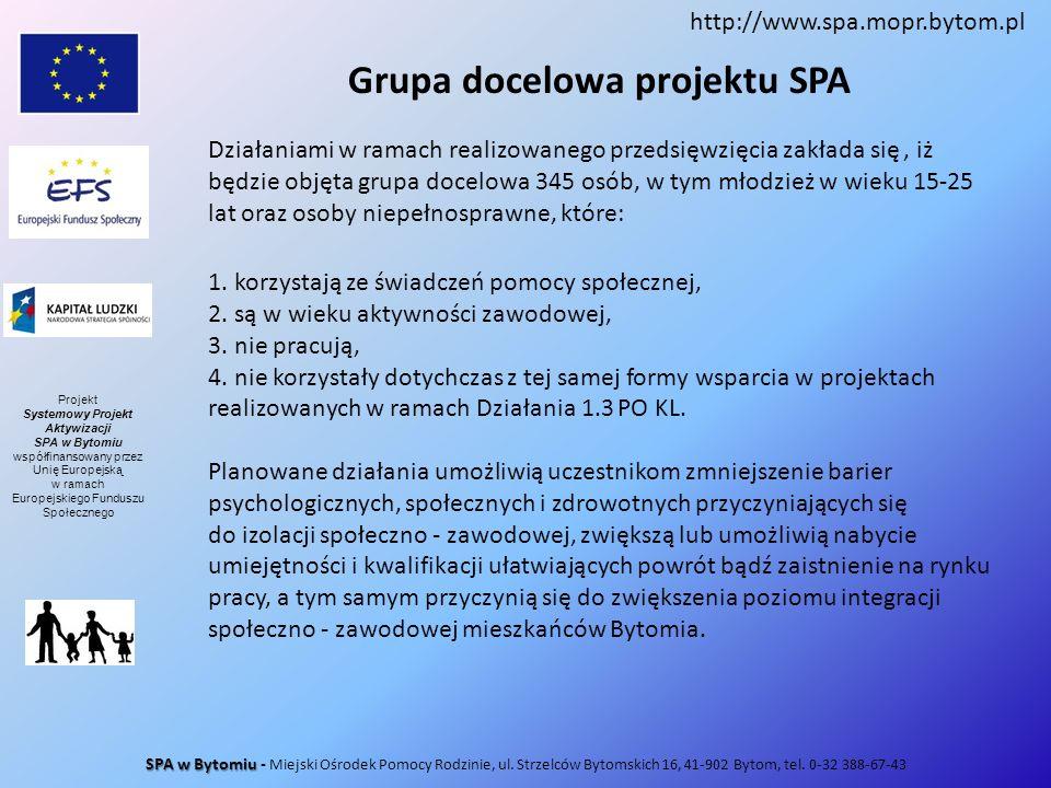 Grupa docelowa projektu SPA Działaniami w ramach realizowanego przedsięwzięcia zakłada się, iż będzie objęta grupa docelowa 345 osób, w tym młodzież w