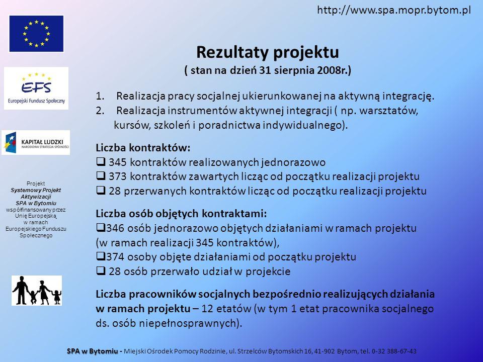Rezultaty projektu ( stan na dzień 31 sierpnia 2008r.) 1. Realizacja pracy socjalnej ukierunkowanej na aktywną integrację. 2. Realizacja instrumentów