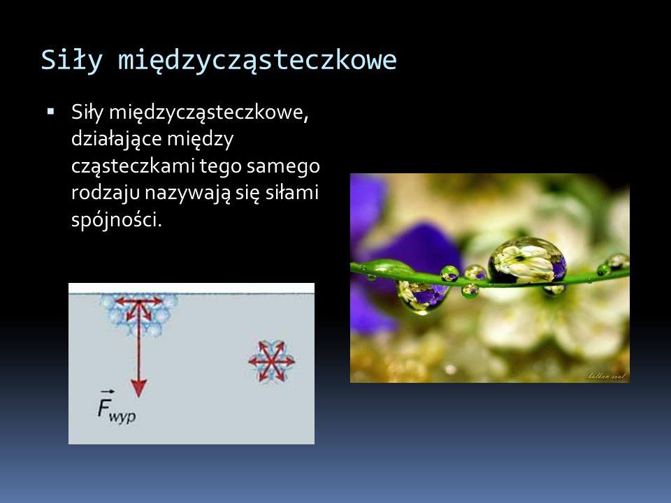 Siły międzycząsteczkowe Siły międzycząsteczkowe, działające między cząsteczkami tego samego rodzaju nazywają się siłami spójności.