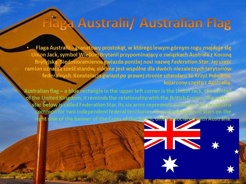 Flaga Australii – granatowy prostokąt, w którego lewym górnym rogu znajduje się Union Jack, symbol Wielkiej Brytanii przypominający o związkach Austra