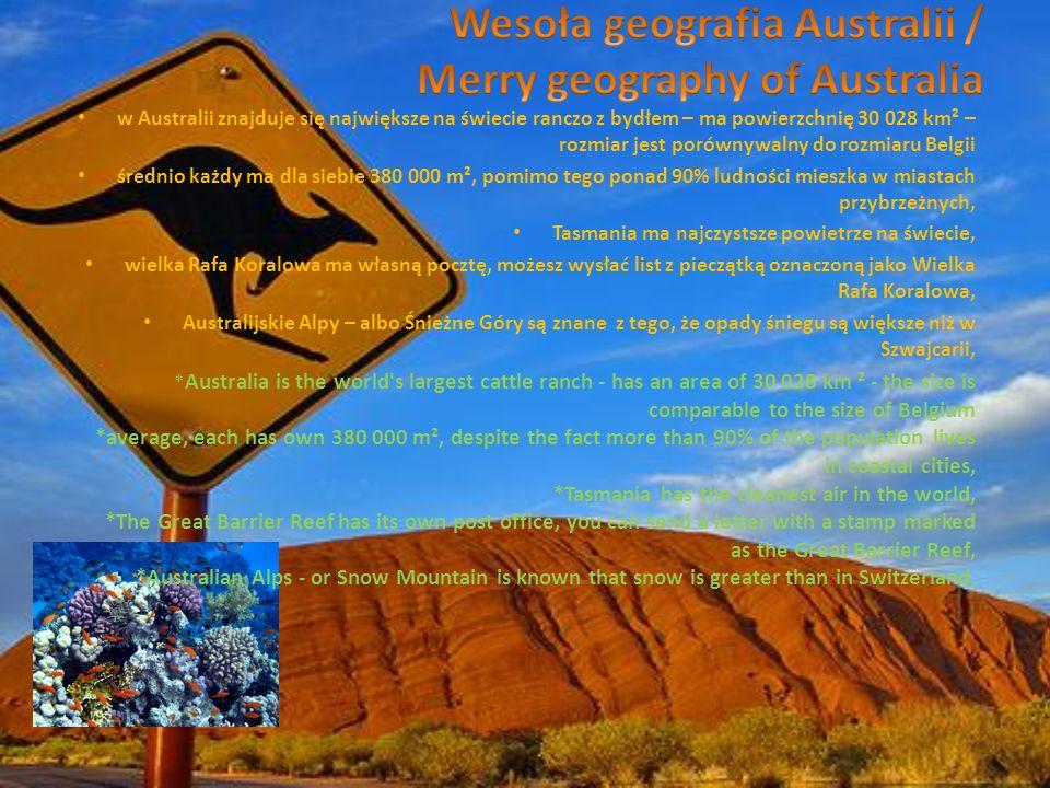 Australia ma największą populację dzikich wielbłądów z… jednym garbem, Diabeł Tasmański istnieje – jego szczęki mają siłę nacisku podobną do szczęk krokodyla, rekiny mają wrodzoną odporność na prawie wszystkie znane choroby, w Australii żyje ponad 150 milionów owiec, Kangur w języku aborygenów oznacza nie rozumiem co do mnie mówisz *Australia has the largest population of wild camels with one hump..., *Tasmanian Devil exists - its jaws are pressure-crocodile-like jaws, *Sharks have an innate resistance to almost all known diseases *In Australia there are more than 150 million sheep, *Kangaroo aboriginal language means I do not understand what you say