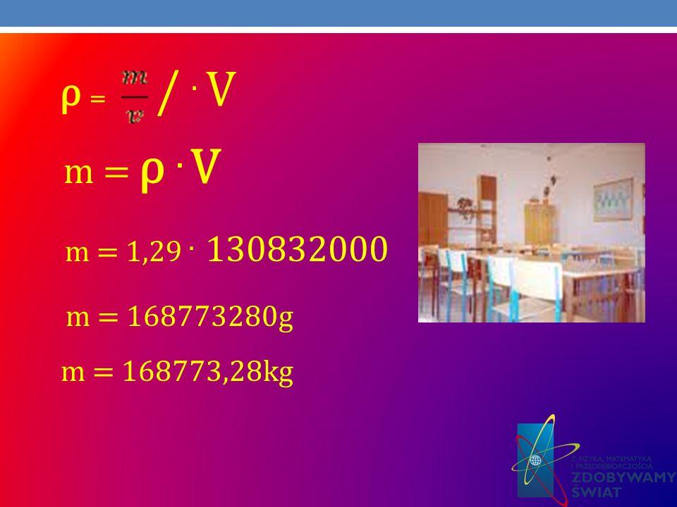 ρ = /. V m = ρ. V m = 1,29. 130832000 m = 168773280g m = 168773,28kg