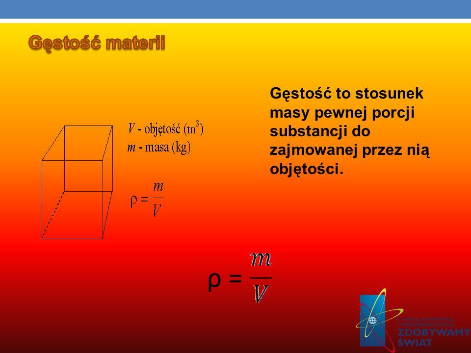 Gęstość to stosunek masy pewnej porcji substancji do zajmowanej przez nią objętości. ρ =