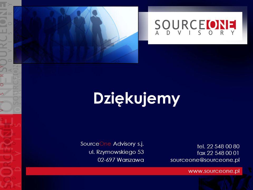 Dziękujemy www.sourceone.pl SourceOne Advisory s.j. ul. Rzymowskiego 53 02-697 Warszawa tel. 22 548 00 80 fax 22 548 00 01 sourceone@sourceone.pl