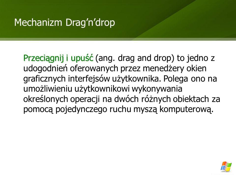 Mechanizm Dragndrop Przeciągnij i upuść Przeciągnij i upuść (ang. drag and drop) to jedno z udogodnień oferowanych przez menedżery okien graficznych i