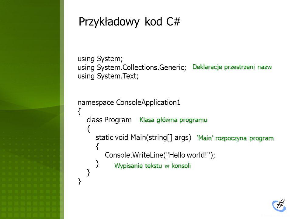 MS Visual C# 2005 Express Eksplorator projektu Okno właściwości aktywnego obiektu Kod programu Błędy / ostrzeżenia podczas kompilacji