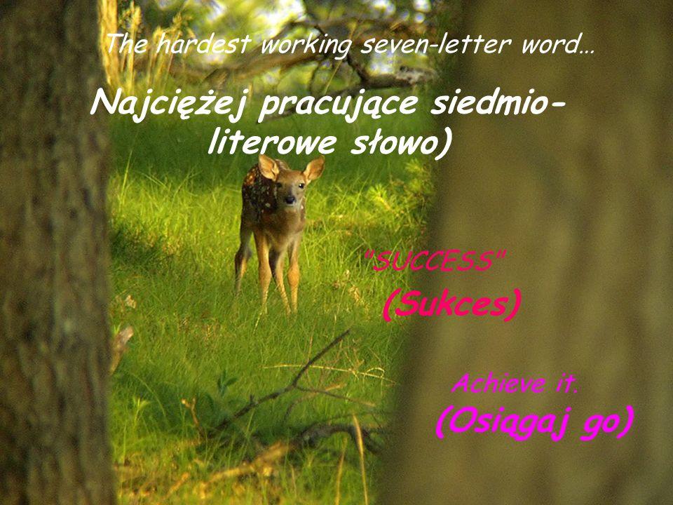 The hardest working seven-letter word… Najciężej pracujące siedmio- literowe słowo) SUCCESS (Sukces) Achieve it.