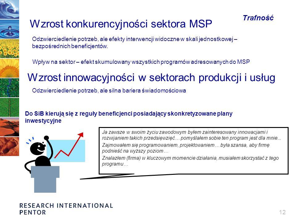 12 Trafność Do SiB kierują się z reguły beneficjenci posiadający skonkretyzowane plany inwestycyjne Wzrost konkurencyjności sektora MSP Odzwierciedlenie potrzeb, ale efekty interwencji widoczne w skali jednostkowej – bezpośrednich beneficjentów.