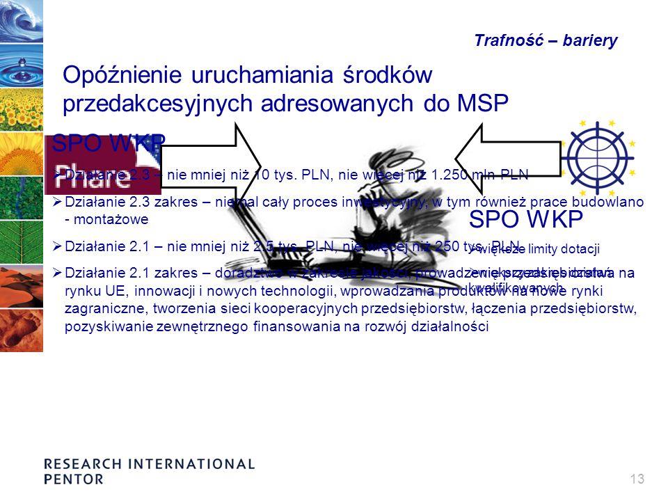 13 Trafność – bariery Opóźnienie uruchamiania środków przedakcesyjnych adresowanych do MSP SPO WKP większe limity dotacji większy zakres działań kwalifikowanych SPO WKP Działanie 2.3 – nie mniej niż 10 tys.