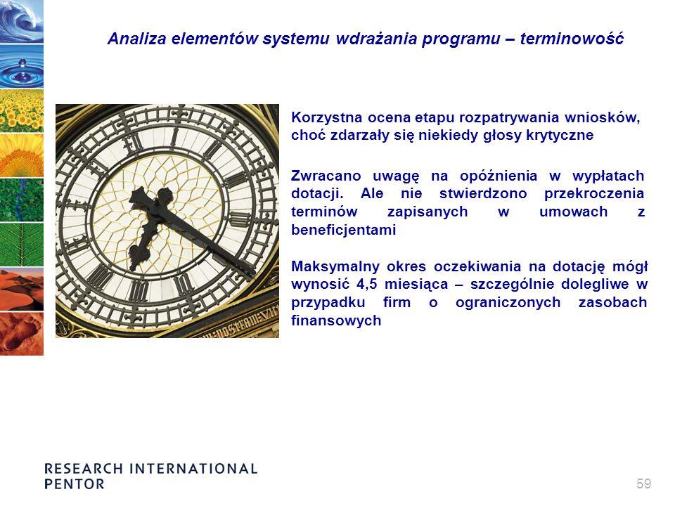 59 Analiza elementów systemu wdrażania programu – terminowość Korzystna ocena etapu rozpatrywania wniosków, choć zdarzały się niekiedy głosy krytyczne