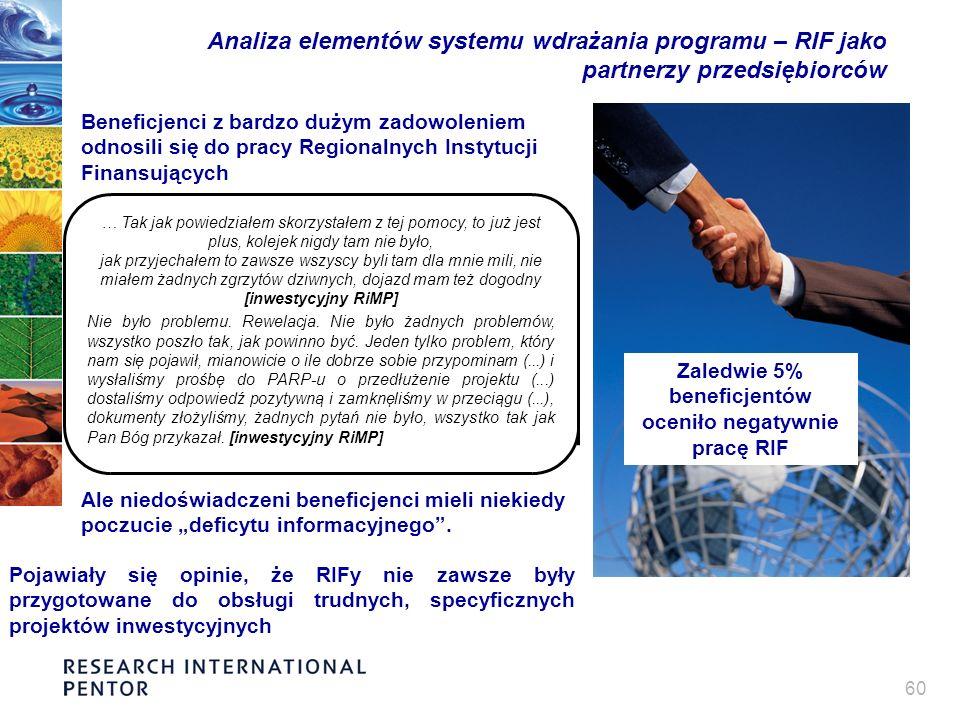 60 Analiza elementów systemu wdrażania programu – RIF jako partnerzy przedsiębiorców Beneficjenci z bardzo dużym zadowoleniem odnosili się do pracy Regionalnych Instytucji Finansujących Ale niedoświadczeni beneficjenci mieli niekiedy poczucie deficytu informacyjnego.