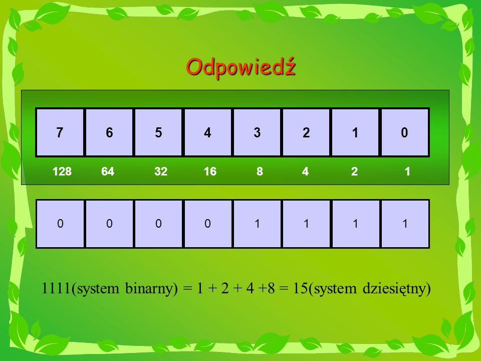Odpowiedź 00001111 76543210 1286432168142 1111(system binarny) = 1 + 2 + 4 +8 = 15(system dziesiętny)