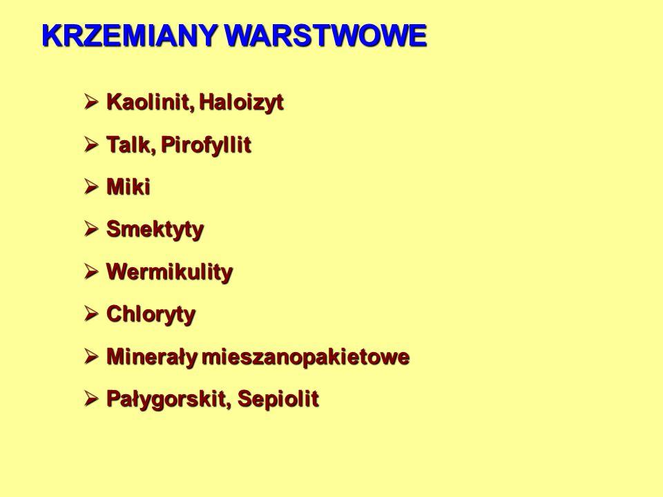 KRZEMIANY WARSTWOWE Kaolinit, Haloizyt Kaolinit, Haloizyt Talk, Pirofyllit Talk, Pirofyllit Miki Miki Smektyty Smektyty Wermikulity Wermikulity Chlory