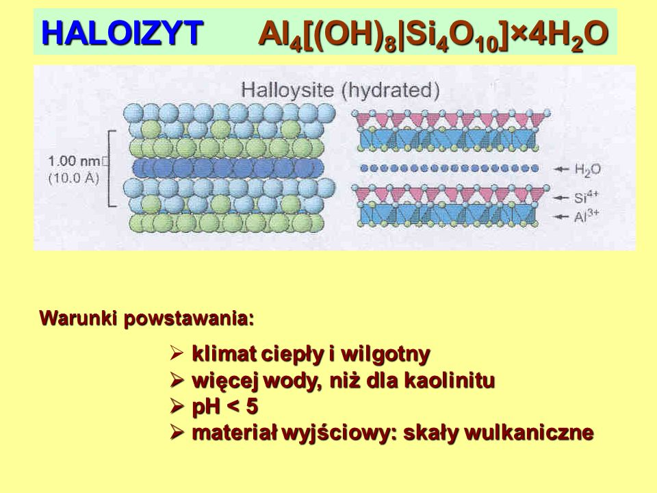 HALOIZYT Al 4 [(OH) 8 |Si 4 O 10 ]×4H 2 O Warunki powstawania: klimat ciepły i wilgotny więcej wody, niż dla kaolinitu więcej wody, niż dla kaolinitu