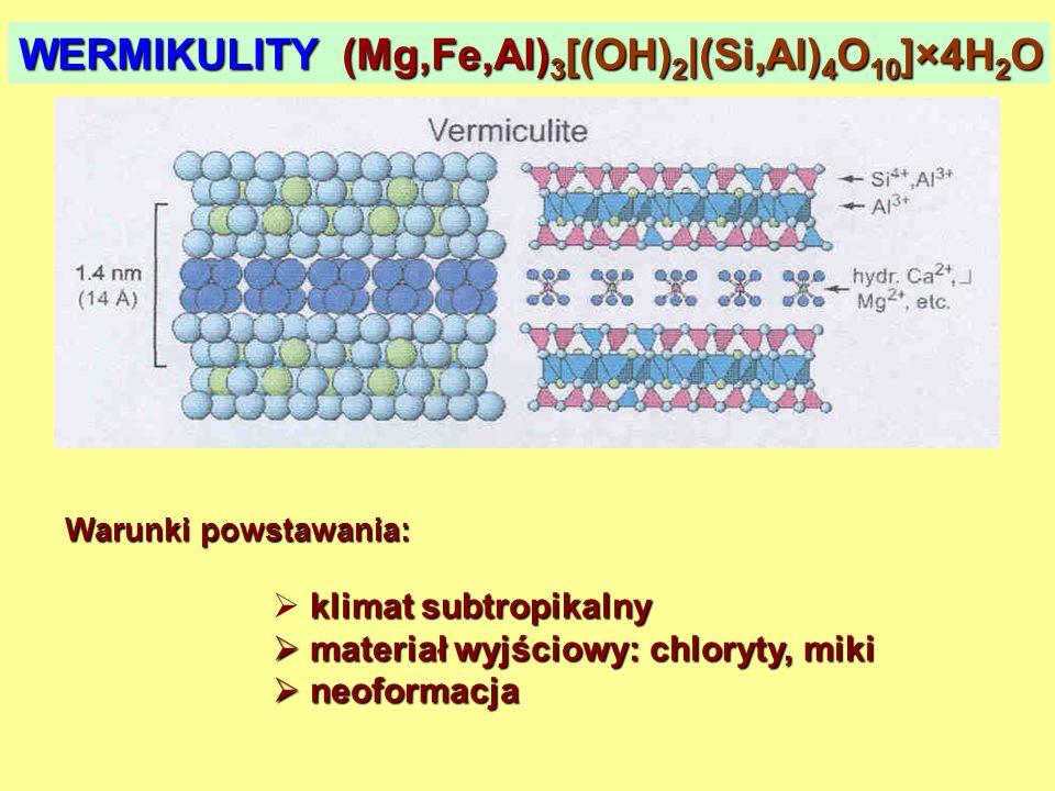 WERMIKULITY (Mg,Fe,Al) 3 [(OH) 2 |(Si,Al) 4 O 10 ]×4H 2 O Warunki powstawania: klimat subtropikalny materiał wyjściowy: chloryty, miki materiał wyjści