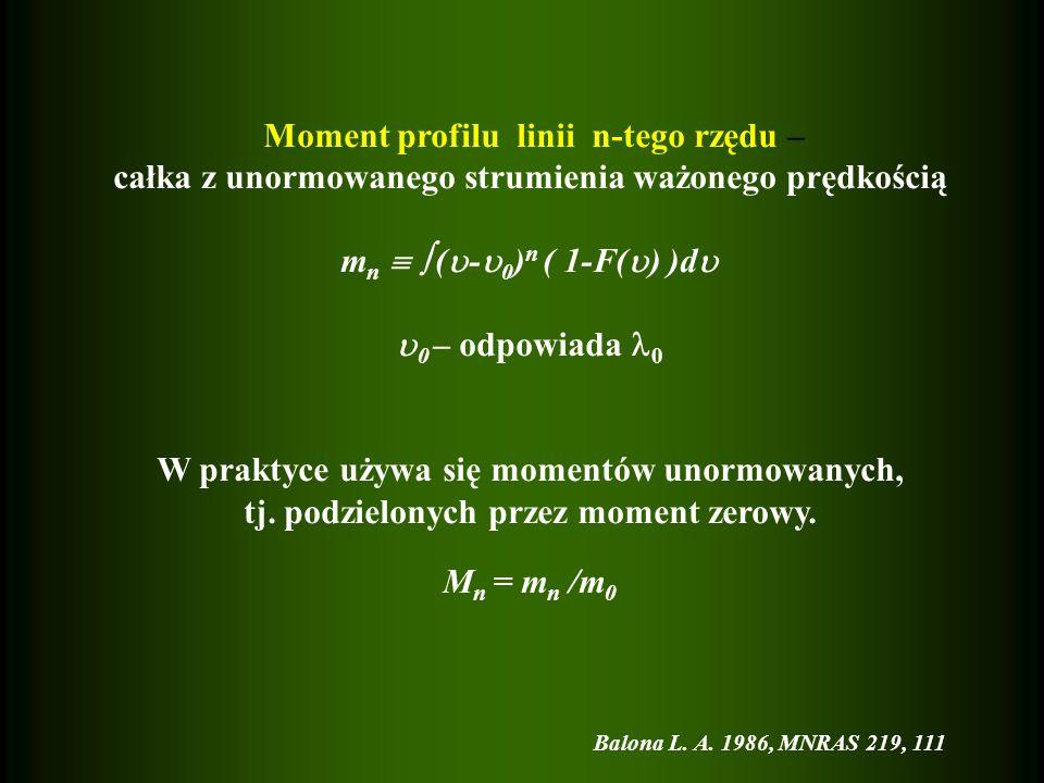 Moment profilu linii n-tego rzędu – całka z unormowanego strumienia ważonego prędkością m n ( - 0 ) n ( 1-F( ) )d 0 – odpowiada 0 W praktyce używa się momentów unormowanych, tj.