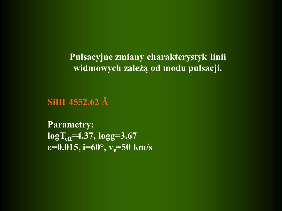 Pulsacyjne zmiany charakterystyk linii widmowych zależą od modu pulsacji.