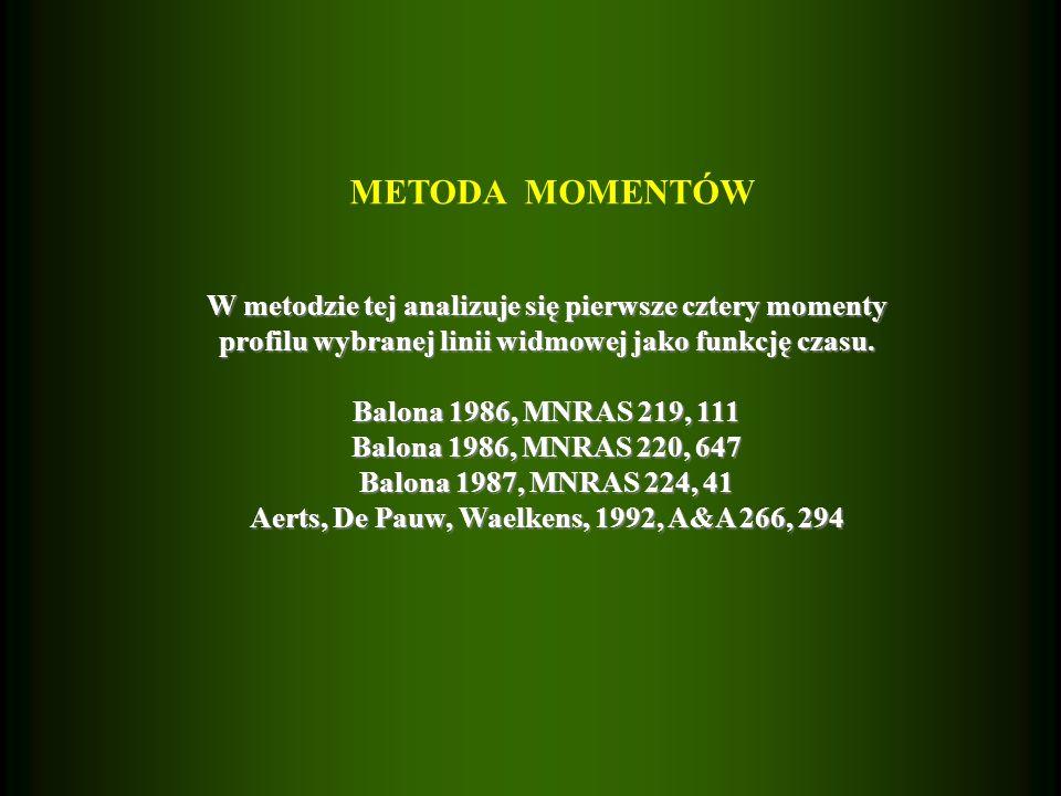 METODA MOMENTÓW W metodzie tej analizuje się pierwsze cztery momenty profilu wybranej linii widmowej jako funkcję czasu.