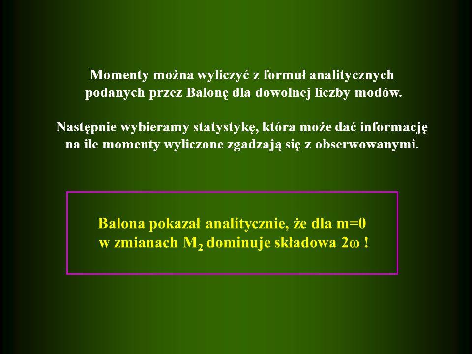 Balona pokazał analitycznie, że dla m=0 w zmianach M 2 dominuje składowa 2 .