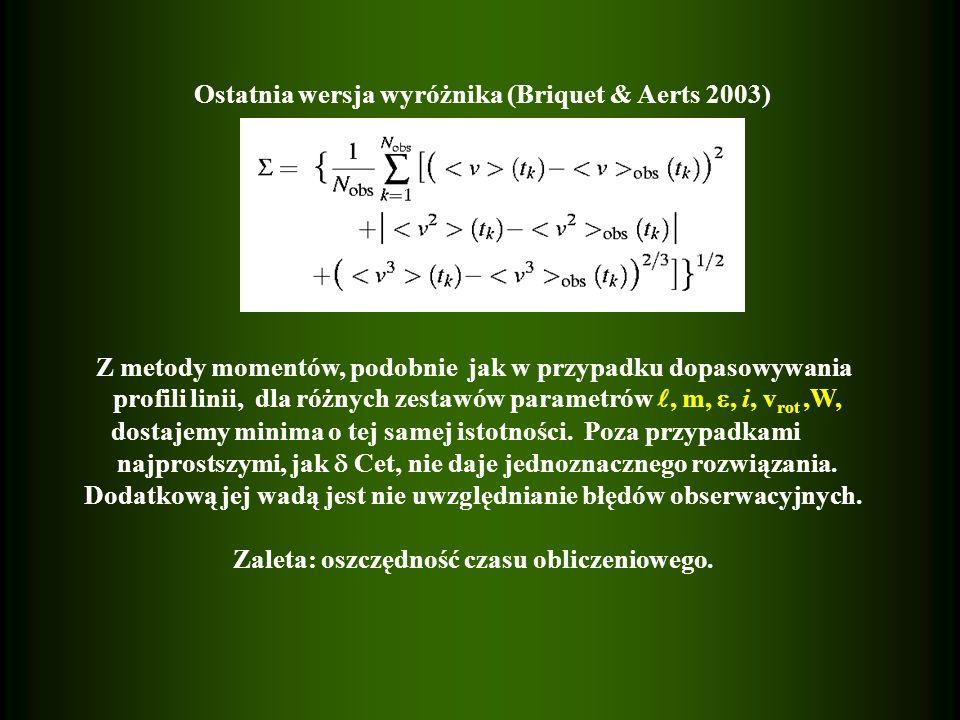 Ostatnia wersja wyróżnika (Briquet & Aerts 2003) Z metody momentów, podobnie jak w przypadku dopasowywania profili linii, dla różnych zestawów parametrów, m,, i, v rot,W, dostajemy minima o tej samej istotności.