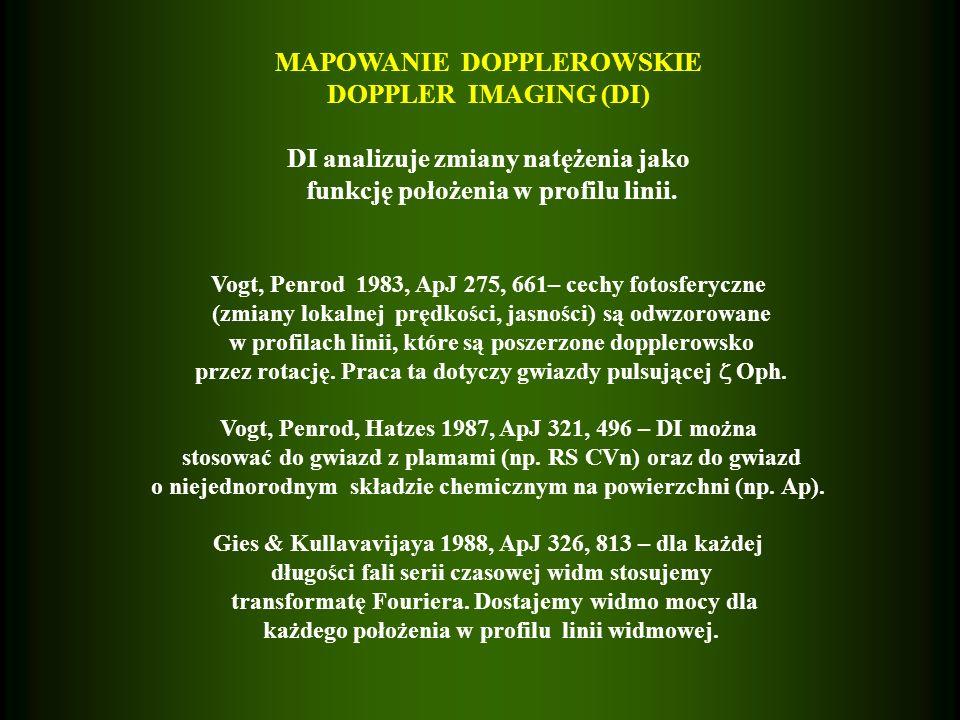 MAPOWANIE DOPPLEROWSKIE DOPPLER IMAGING (DI) DI analizuje zmiany natężenia jako funkcję położenia w profilu linii.