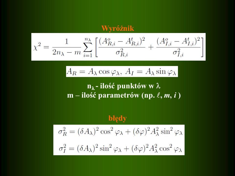 Wyróżnik błędy n - ilość punktów w m – ilość parametrów (np., m, i )