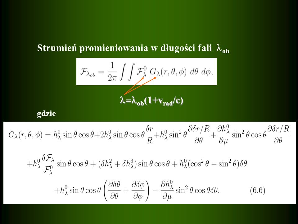 Strumień promieniowania w długości fali ob gdzie ob (1+v rad /c) ob (1+v rad /c)