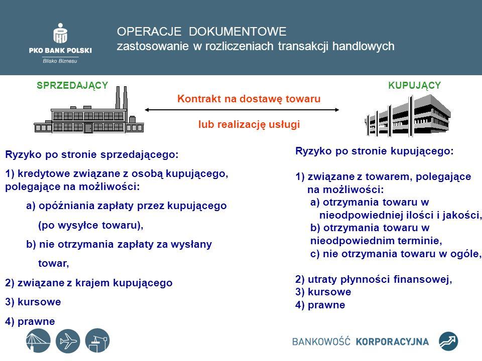 OPERACJE DOKUMENTOWE zastosowanie w rozliczeniach transakcji handlowych Formy rozliczeń transakcji handlowych w obrocie zagranicznym