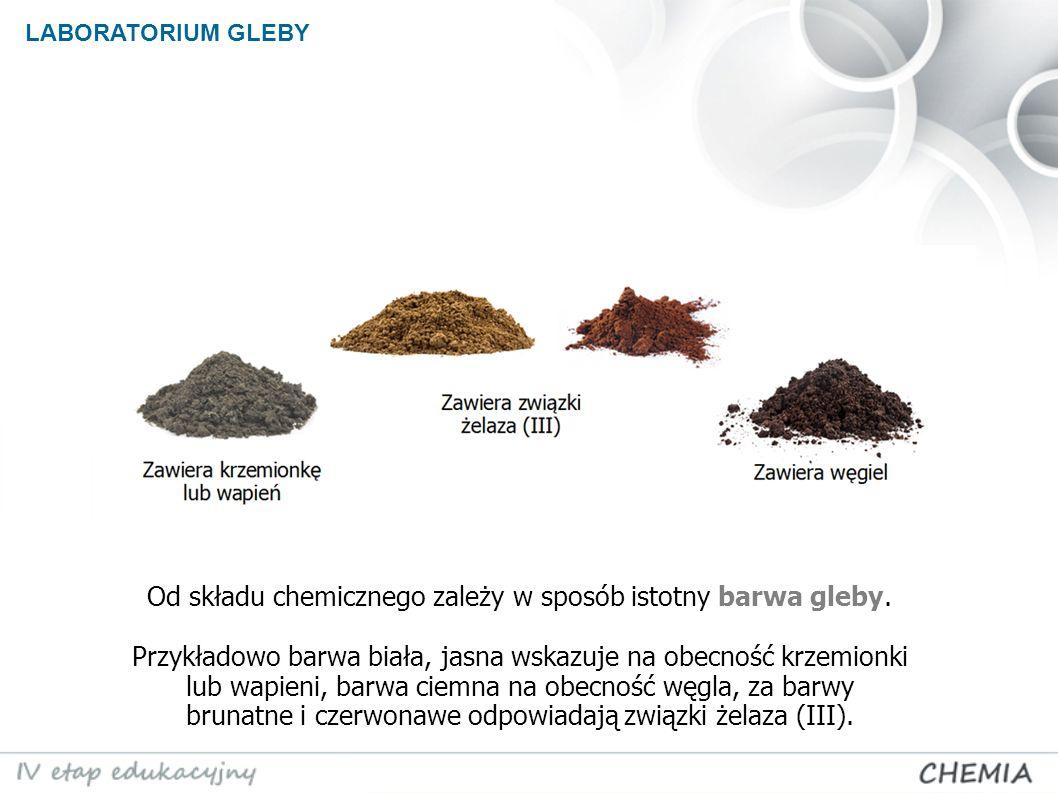 LABORATORIUM GLEBY Od składu chemicznego zależy w sposób istotny barwa gleby.