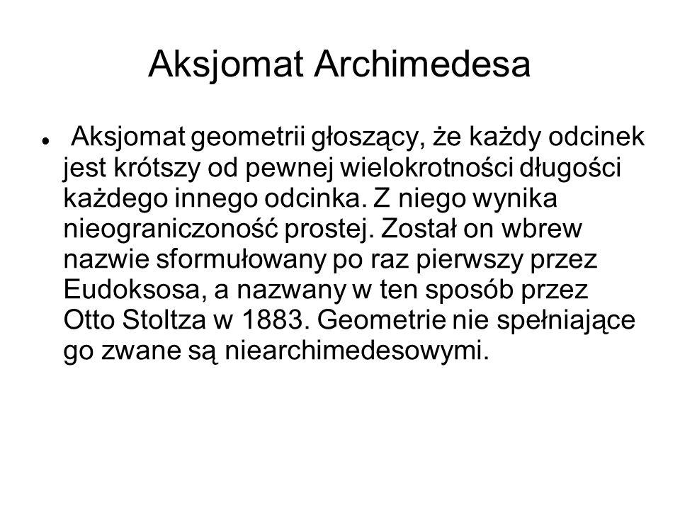 Aksjomat Archimedesa Aksjomat geometrii głoszący, że każdy odcinek jest krótszy od pewnej wielokrotności długości każdego innego odcinka. Z niego wyni