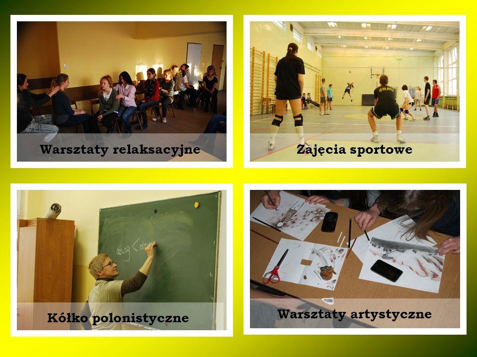 Warsztaty relaksacyjneZajęcia sportowe Kółko polonistyczne Warsztaty artystyczne