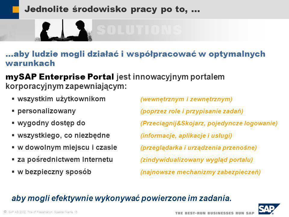 SAP AG 2002, Title of Presentation, Speaker Name 15 Jednolite środowisko pracy po to,... …aby ludzie mogli działać i współpracować w optymalnych warun