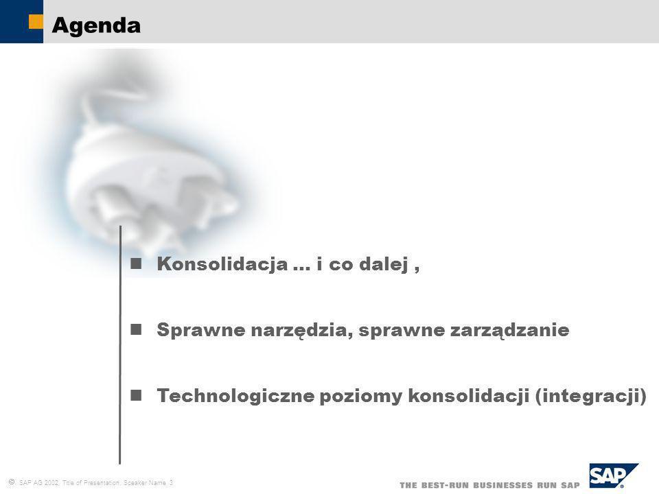 SAP AG 2002, Title of Presentation, Speaker Name 4 Wyzwania konsolidacji Umożliwienie wykorzystania efektu synergii poprzez sprawność obiegu informacji i procesów zarządczych Spójność informacyjna i informatyczna podmiotów Wsparcie całego procesu przekształceń (prawnych, biznesowych organizacyjnych) Możliwość budowy rozwiązania pozwalającego na przekształcenia i późniejsze zmiany, Nowe procesy umożliwiające optymalizację wykorzystania zasobów ( np.