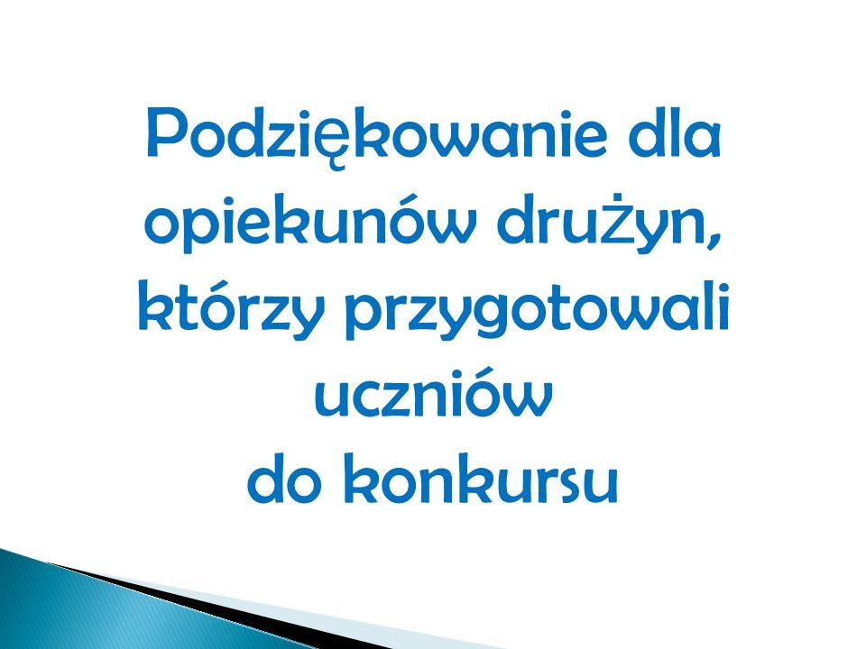 Podzi ę kowanie dla opiekunów dru ż yn, którzy przygotowali uczniów do konkursu