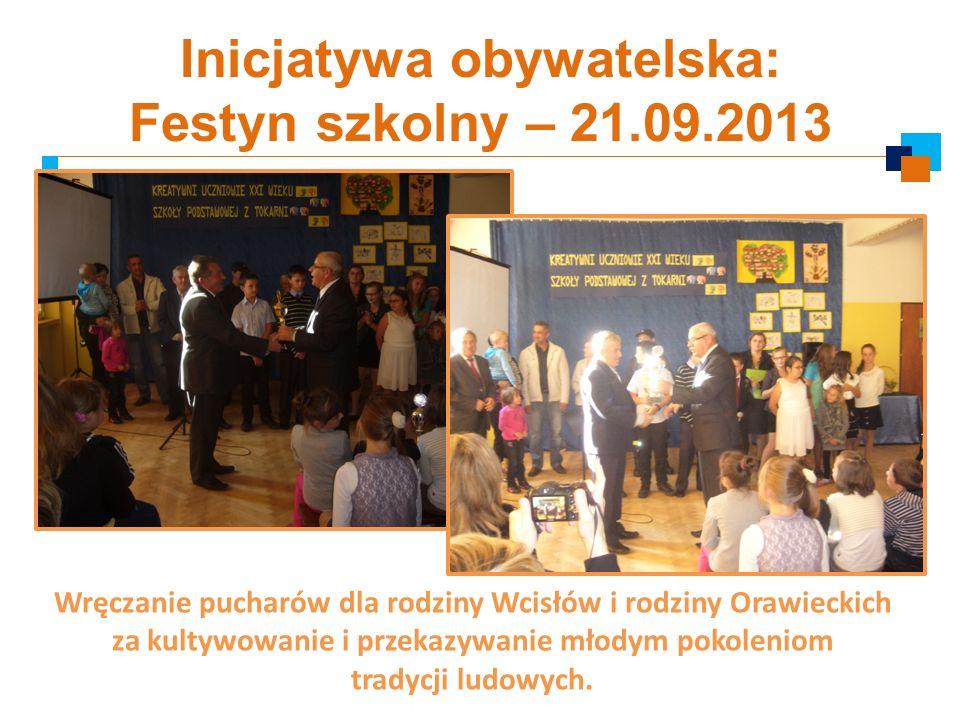 Inicjatywa obywatelska: Festyn szkolny – 21.09.2013 Wręczanie pucharów dla rodziny Wcisłów i rodziny Orawieckich za kultywowanie i przekazywanie młody