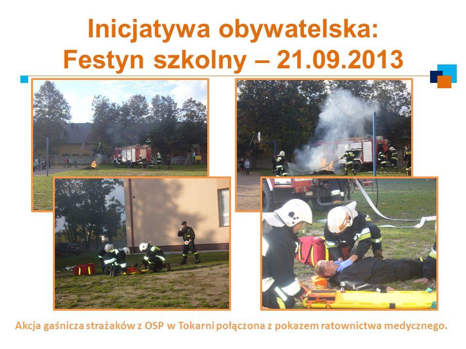 Inicjatywa obywatelska: Festyn szkolny – 21.09.2013 Akcja gaśnicza strażaków z OSP w Tokarni połączona z pokazem ratownictwa medycznego.