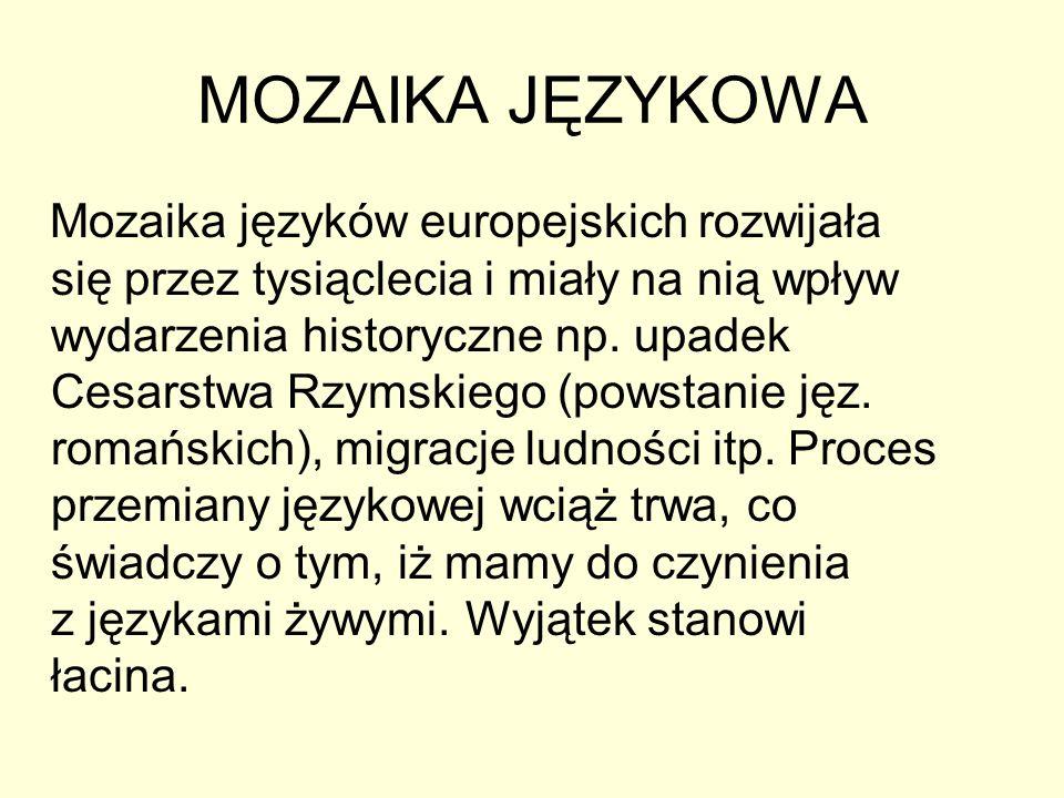 MOZAIKA JĘZYKOWA Mozaika języków europejskich rozwijała się przez tysiąclecia i miały na nią wpływ wydarzenia historyczne np. upadek Cesarstwa Rzymski