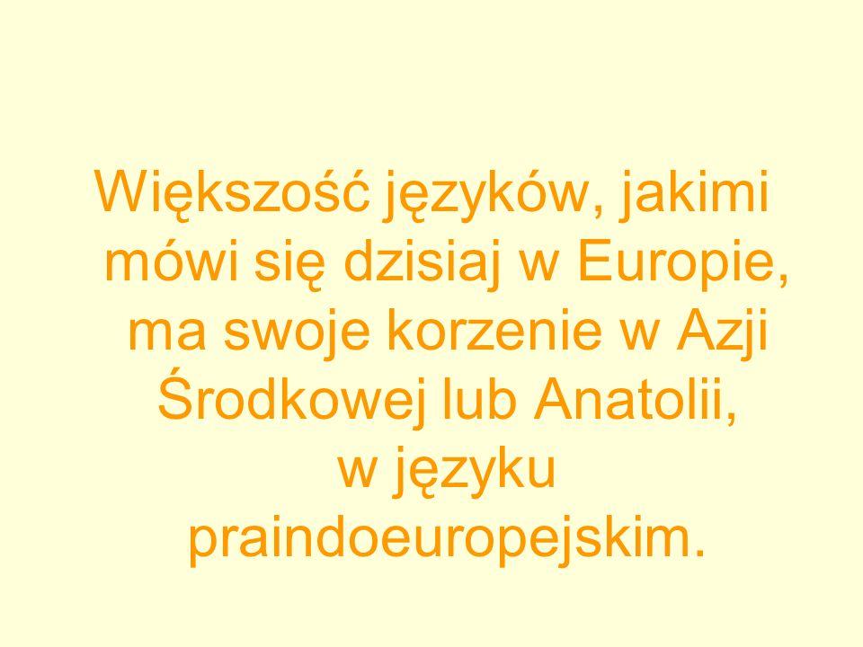 Większość języków, jakimi mówi się dzisiaj w Europie, ma swoje korzenie w Azji Środkowej lub Anatolii, w języku praindoeuropejskim.