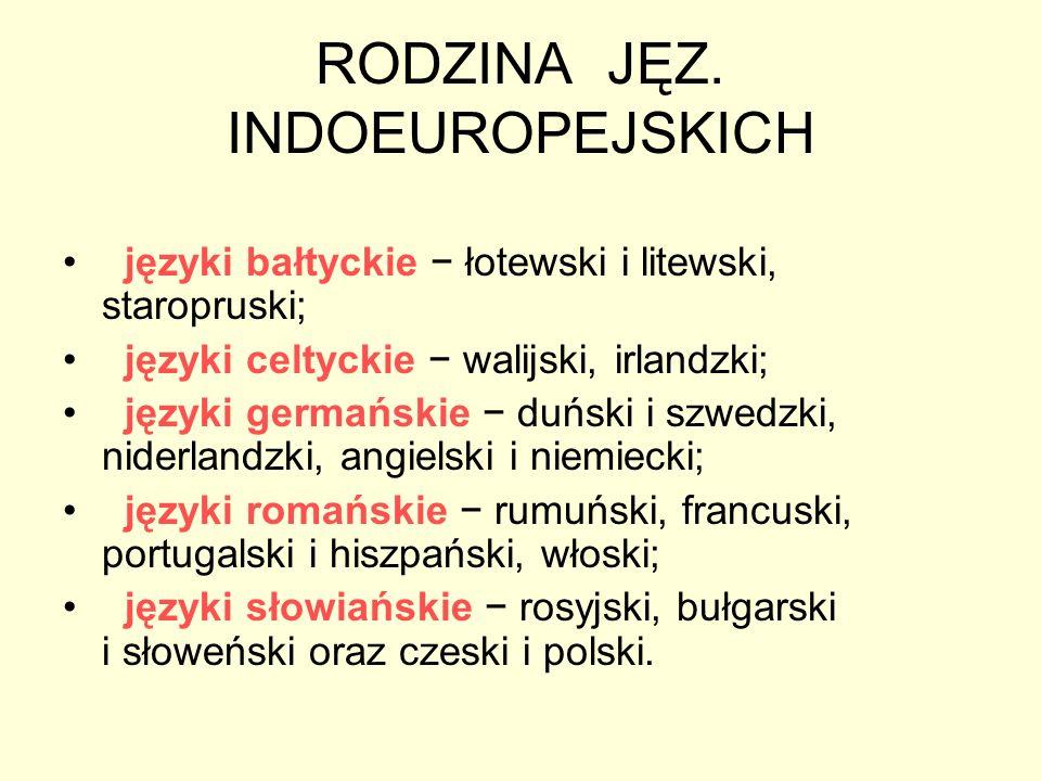 RODZINA JĘZ. INDOEUROPEJSKICH języki bałtyckie łotewski i litewski, staropruski; języki celtyckie walijski, irlandzki; języki germańskie duński i szwe