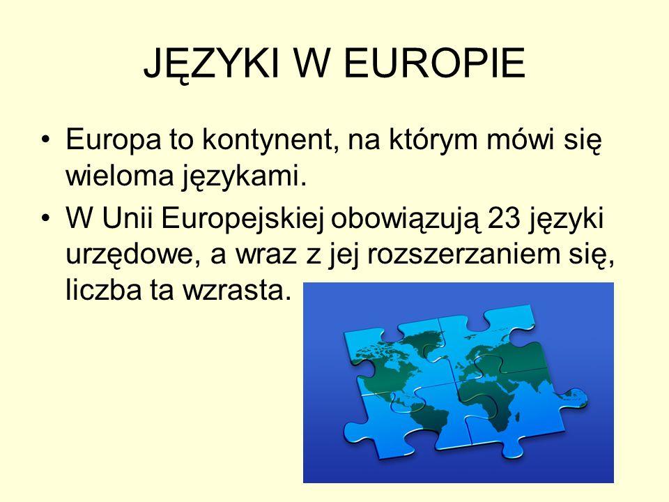 JĘZYKI W EUROPIE Europa to kontynent, na którym mówi się wieloma językami. W Unii Europejskiej obowiązują 23 języki urzędowe, a wraz z jej rozszerzani