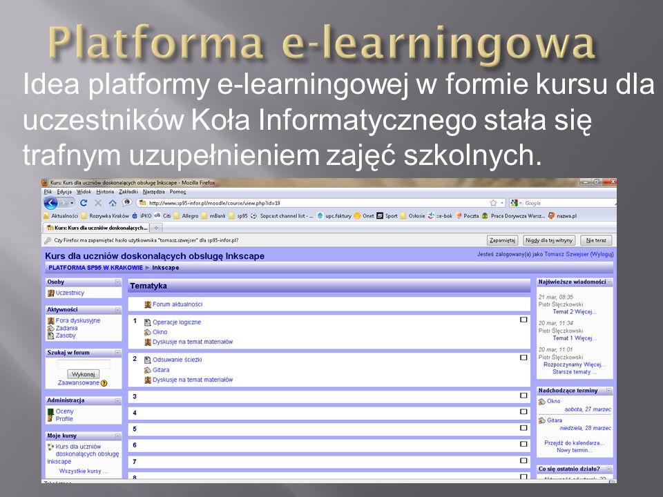 Idea platformy e-learningowej w formie kursu dla uczestników Koła Informatycznego stała się trafnym uzupełnieniem zajęć szkolnych.