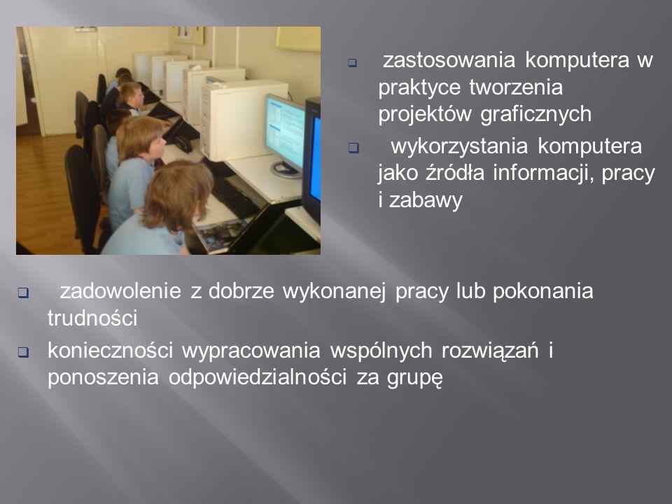 zastosowania komputera w praktyce tworzenia projektów graficznych wykorzystania komputera jako źródła informacji, pracy i zabawy zadowolenie z dobrze