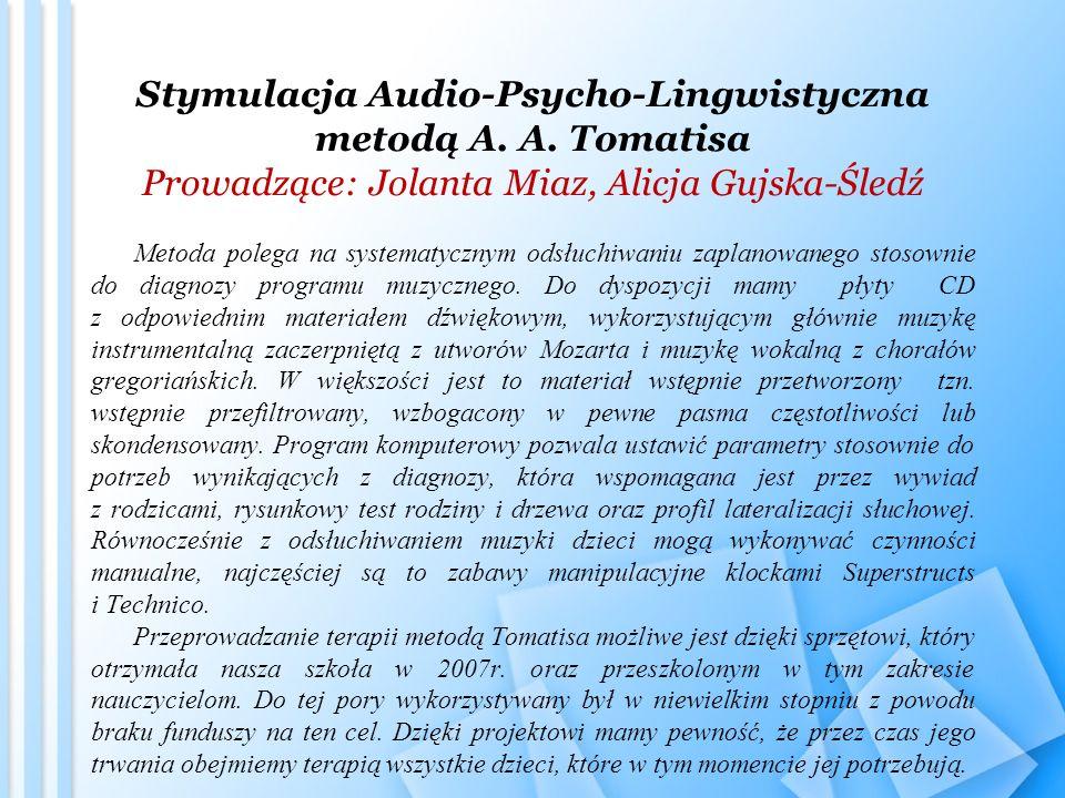 Stymulacja Audio-Psycho-Lingwistyczna metodą A. A. Tomatisa Prowadzące: Jolanta Miaz, Alicja Gujska-Śledź Metoda polega na systematycznym odsłuchiwani