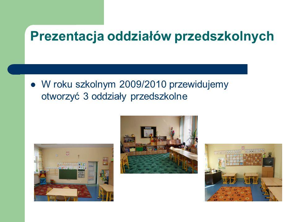 Prezentacja oddziałów przedszkolnych W roku szkolnym 2009/2010 przewidujemy otworzyć 3 oddziały przedszkolne