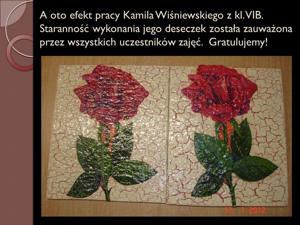 A oto efekt pracy Kamila Wiśniewskiego z kl. VIB. Staranność wykonania jego deseczek została zauważona przez wszystkich uczestników zajęć. Gratulujemy