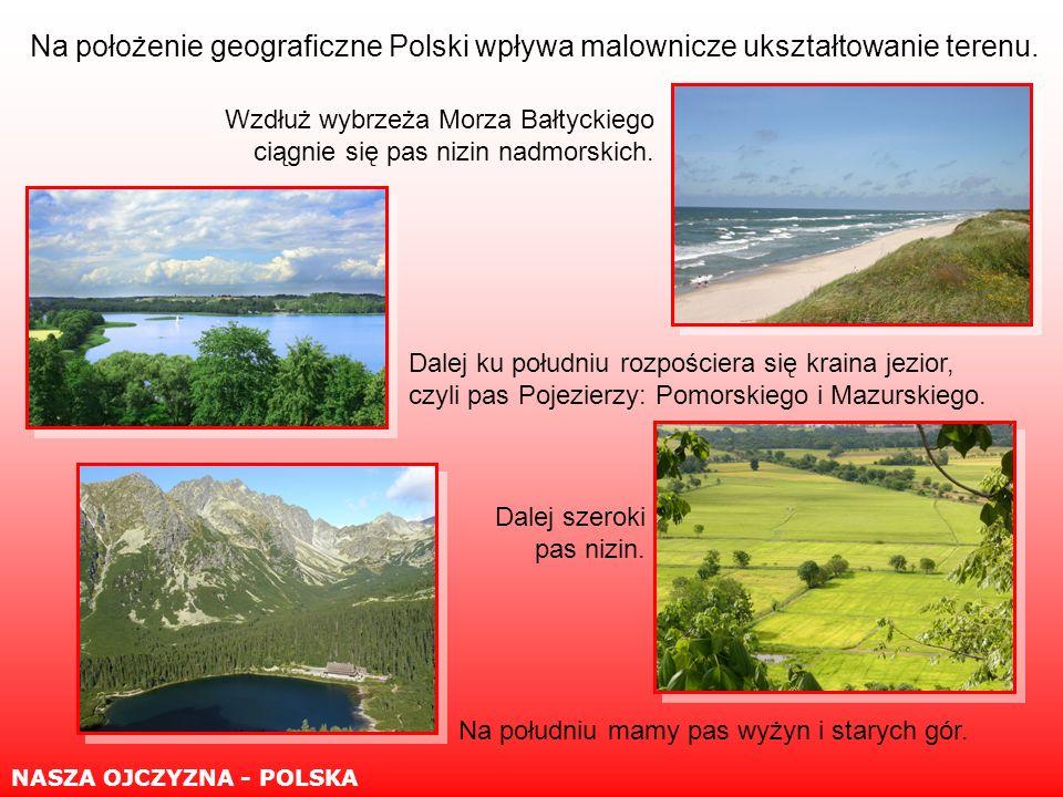 Polska położona jest w Europie Środkowej, nad Morzem Bałtyckim, graniczy z siedmioma państwami: NASZA OJCZYZNA - POLSKA Rosją, Litwą, Białorusią, Ukrainą, Słowacją, Czechami, Niemcami.