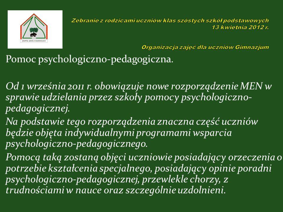 Pomoc psychologiczno-pedagogiczna. Od 1 września 2011 r.