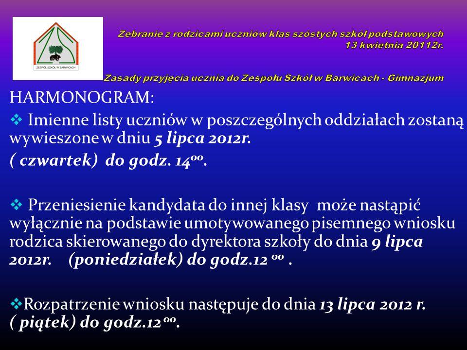 HARMONOGRAM: Imienne listy uczniów w poszczególnych oddziałach zostaną wywieszone w dniu 5 lipca 2012r.