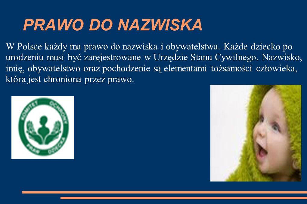 PRAWO DO NAZWISKA W Polsce każdy ma prawo do nazwiska i obywatelstwa.