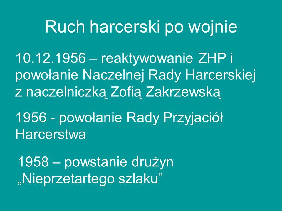 Ruch harcerski po wojnie 10.12.1956 – reaktywowanie ZHP i powołanie Naczelnej Rady Harcerskiej z naczelniczką Zofią Zakrzewską 1956 - powołanie Rady P